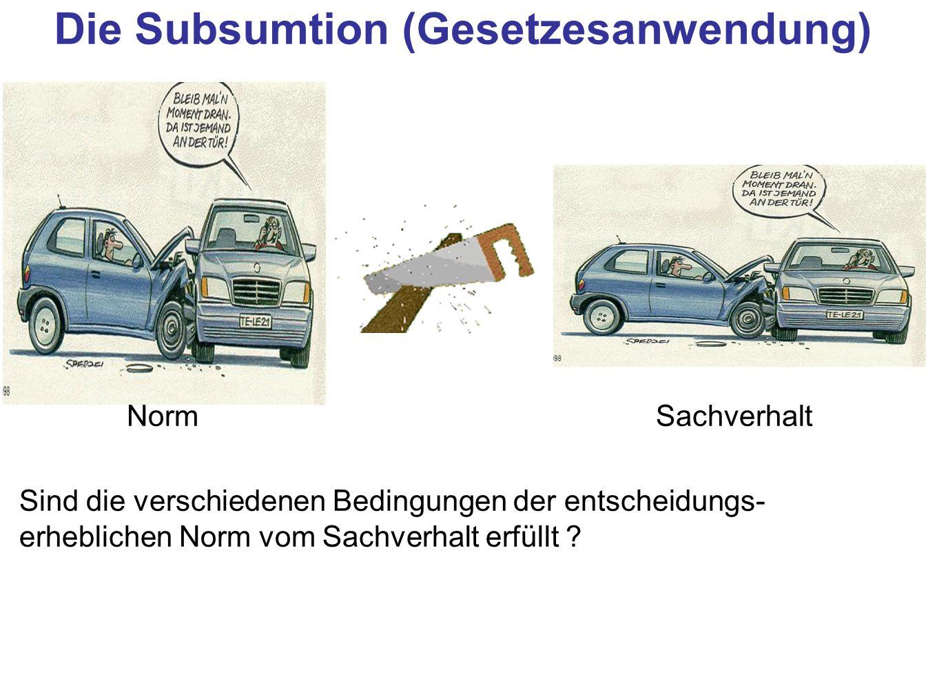 Die Subsumtion (Gesetzesanwendung)