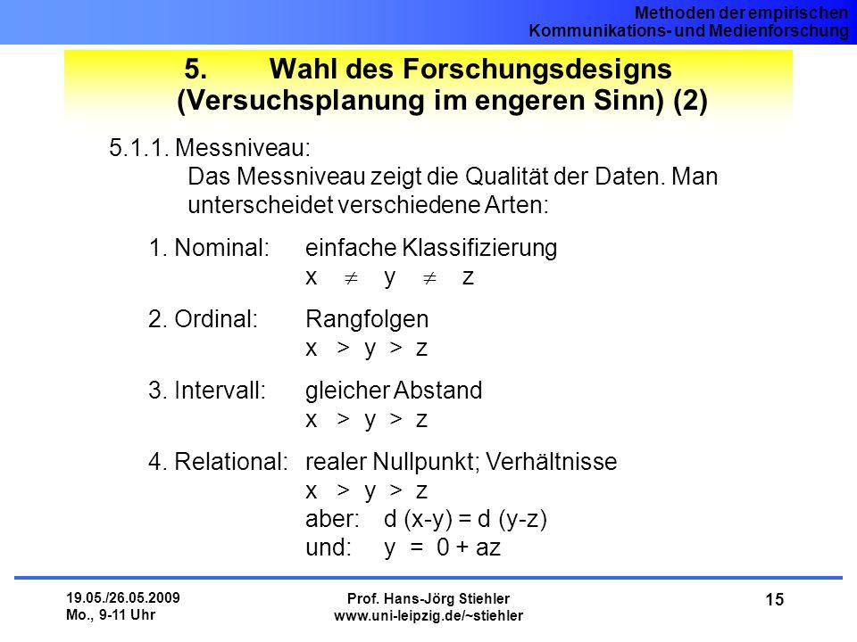 5. Wahl des Forschungsdesigns (Versuchsplanung im engeren Sinn) (2)