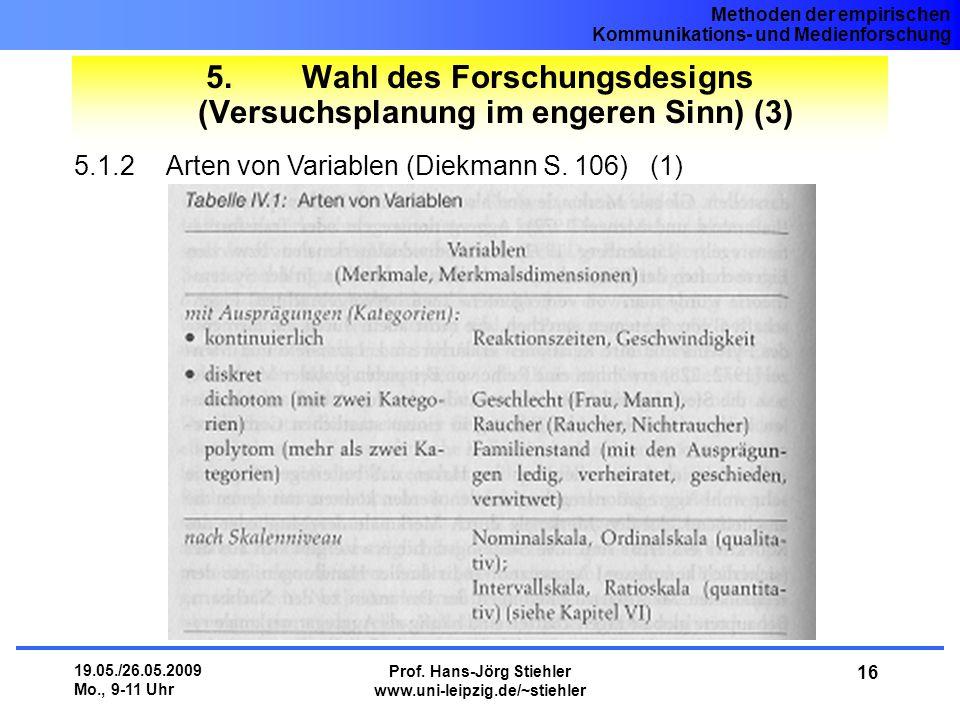 5. Wahl des Forschungsdesigns (Versuchsplanung im engeren Sinn) (3)