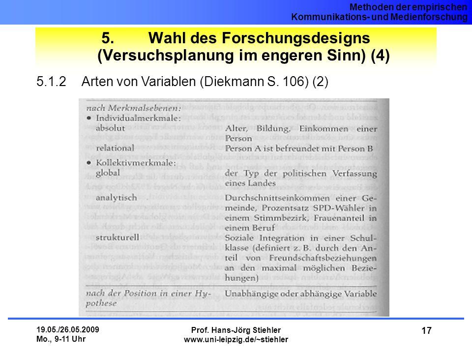 5. Wahl des Forschungsdesigns (Versuchsplanung im engeren Sinn) (4)