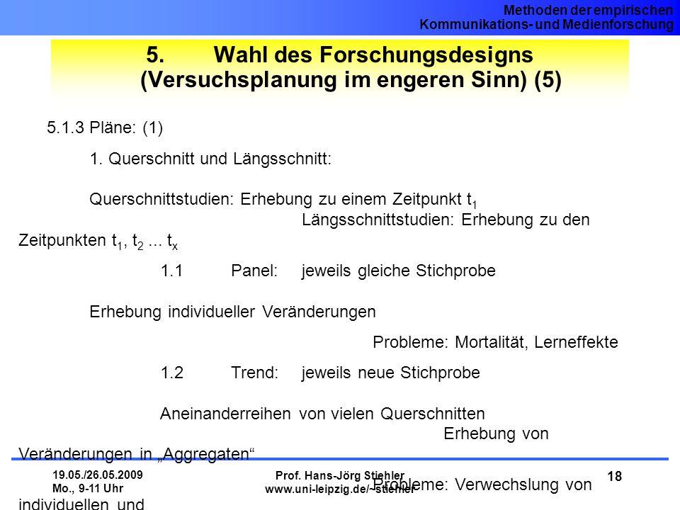 5. Wahl des Forschungsdesigns (Versuchsplanung im engeren Sinn) (5)