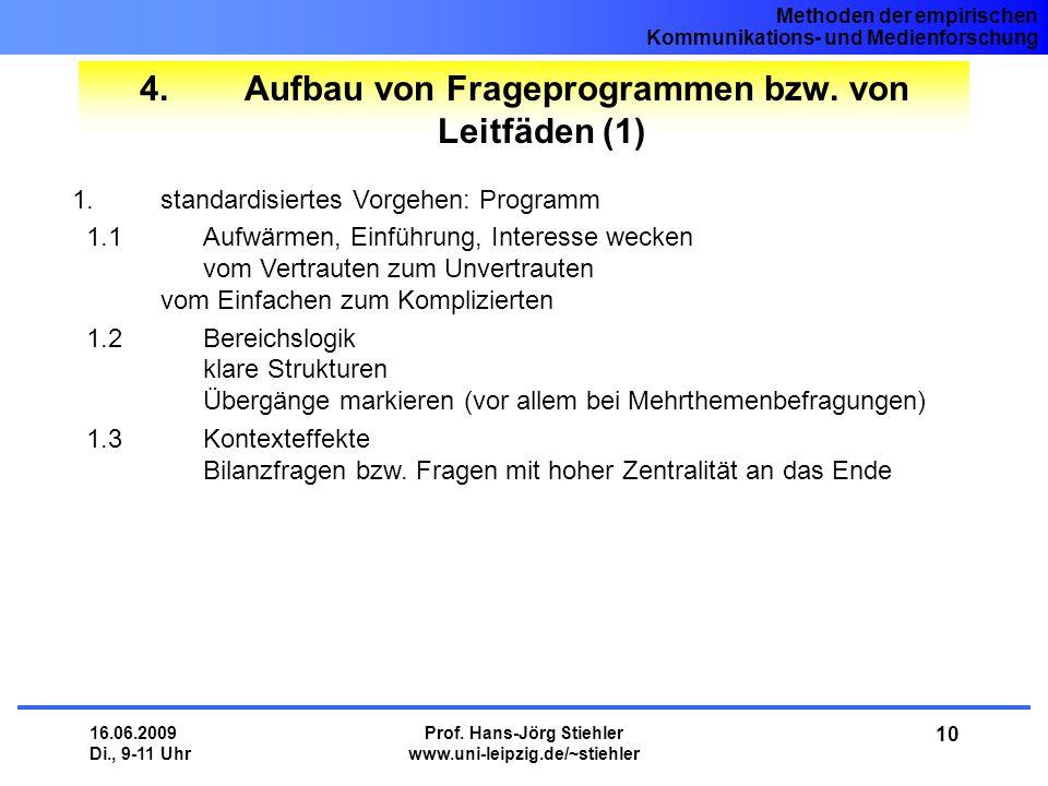4. Aufbau von Frageprogrammen bzw. von Leitfäden (1)