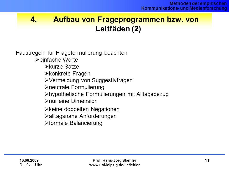 4. Aufbau von Frageprogrammen bzw. von Leitfäden (2)