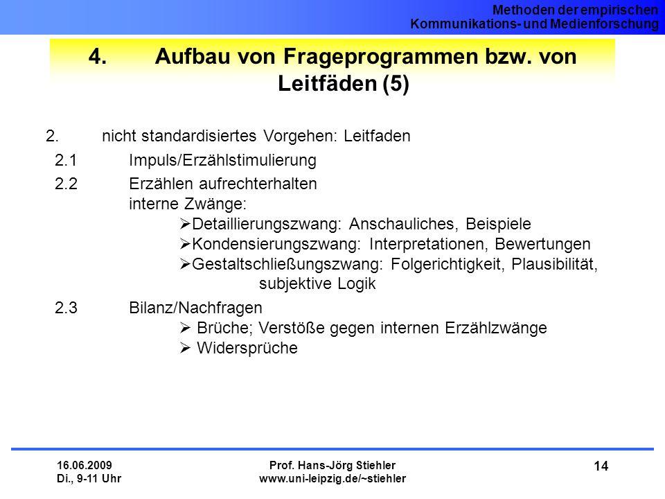 4. Aufbau von Frageprogrammen bzw. von Leitfäden (5)