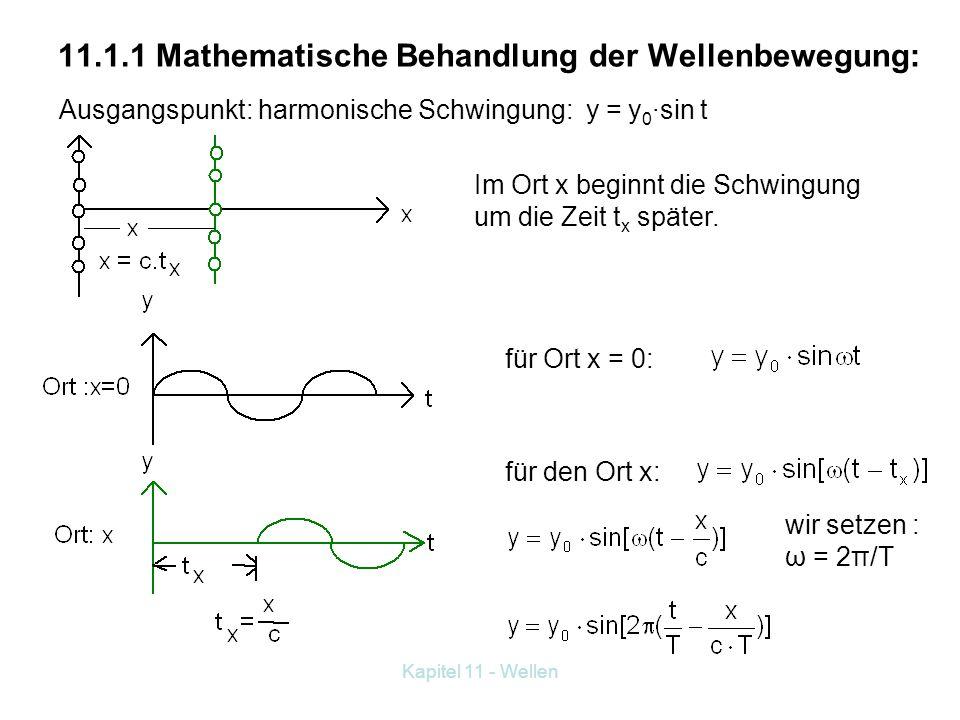 11.1.1 Mathematische Behandlung der Wellenbewegung: