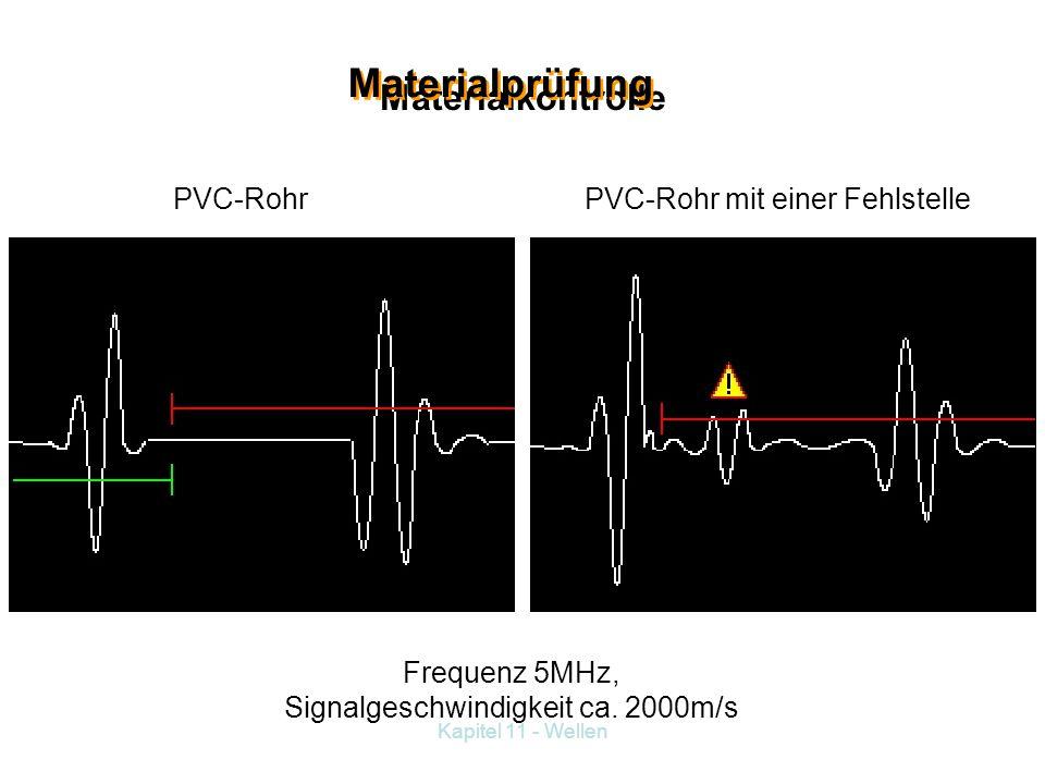 Frequenz 5MHz, Signalgeschwindigkeit ca. 2000m/s