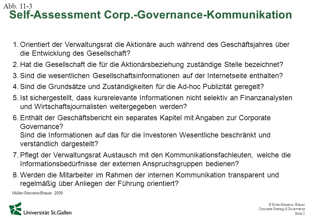 Self-Assessment Corp.-Governance-Kommunikation
