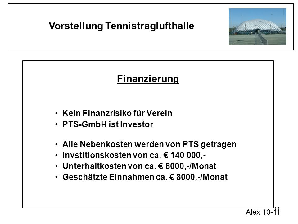Finanzierung Kein Finanzrisiko für Verein PTS-GmbH ist Investor