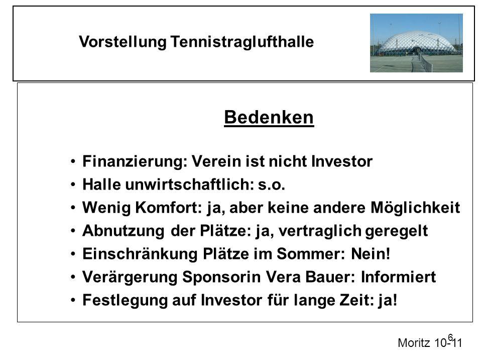 Bedenken Finanzierung: Verein ist nicht Investor