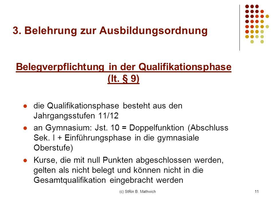 Belegverpflichtung in der Qualifikationsphase (lt. § 9)