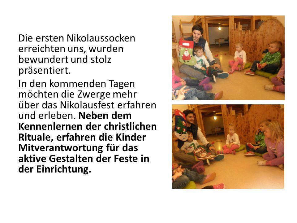 Die ersten Nikolaussocken erreichten uns, wurden bewundert und stolz präsentiert.