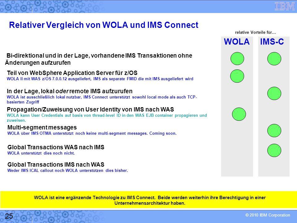Relativer Vergleich von WOLA und IMS Connect