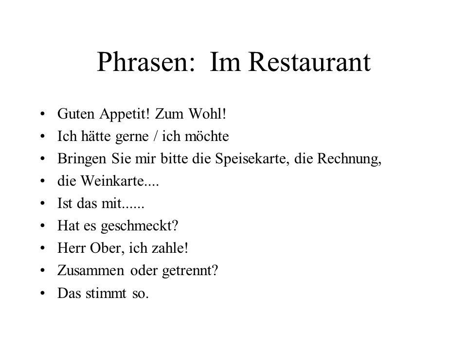 Phrasen: Im Restaurant
