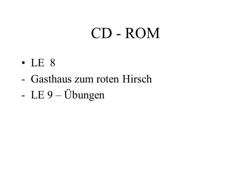CD - ROM LE 8 Gasthaus zum roten Hirsch LE 9 – Übungen