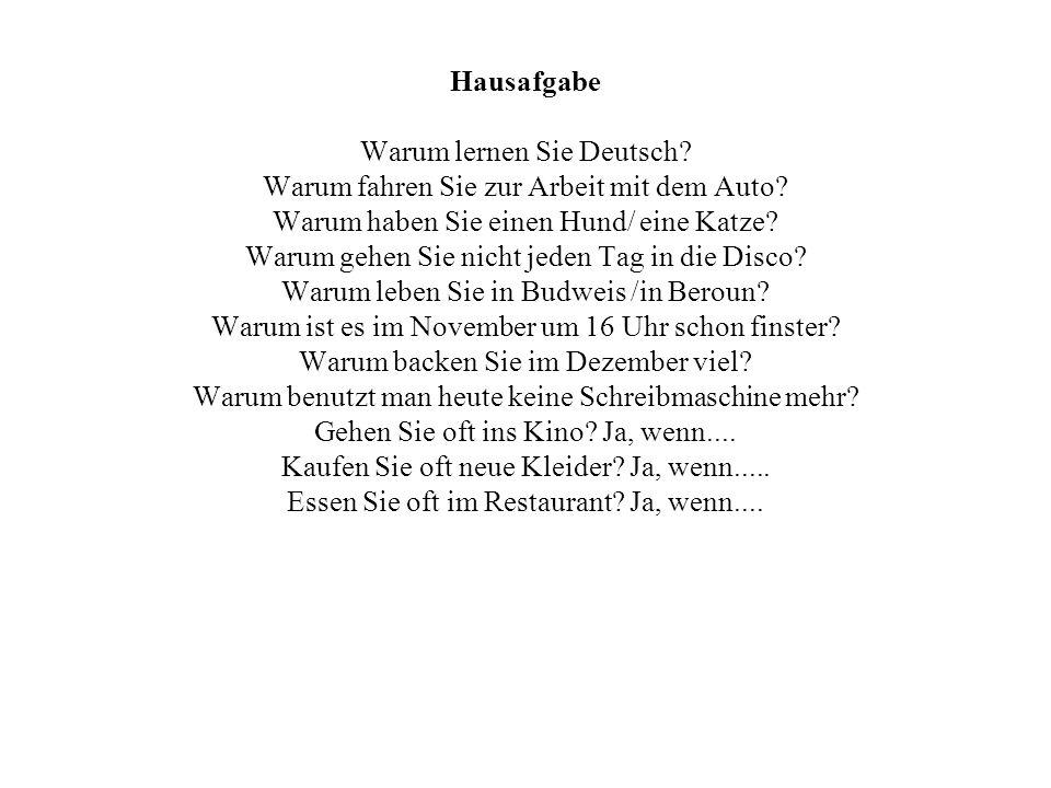 Hausafgabe Warum lernen Sie Deutsch