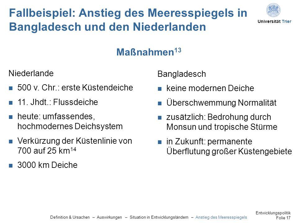 Fallbeispiel: Anstieg des Meeresspiegels in Bangladesch und den Niederlanden