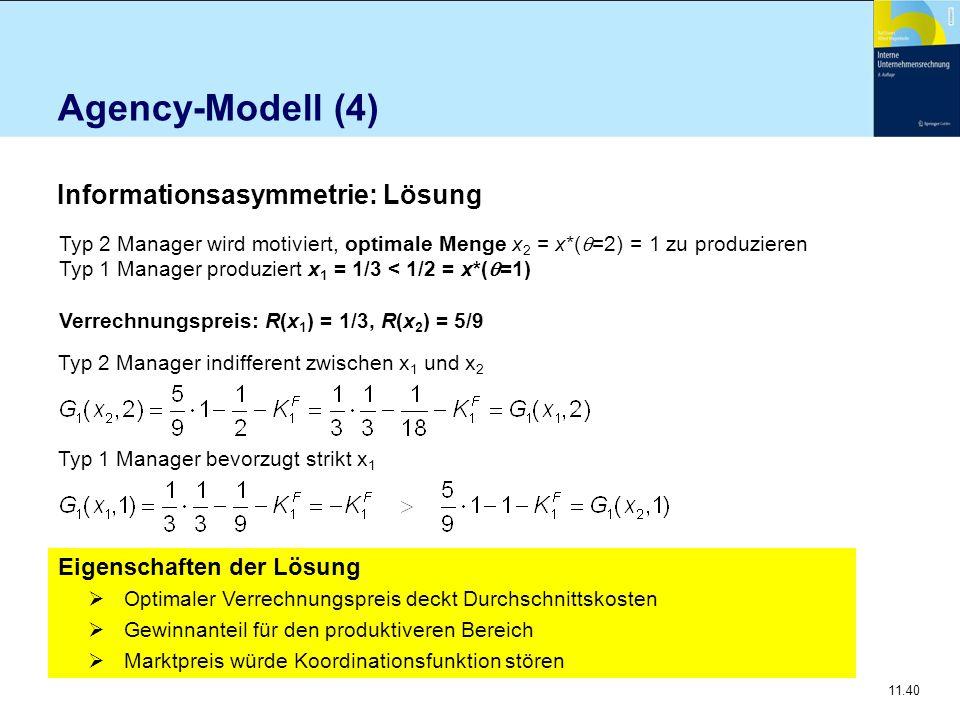 Agency-Modell (4) Informationsasymmetrie: Lösung