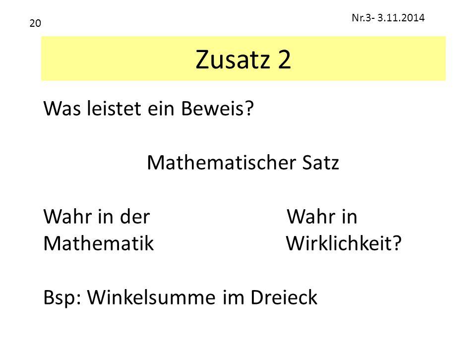 Zusatz 2 Was leistet ein Beweis Mathematischer Satz