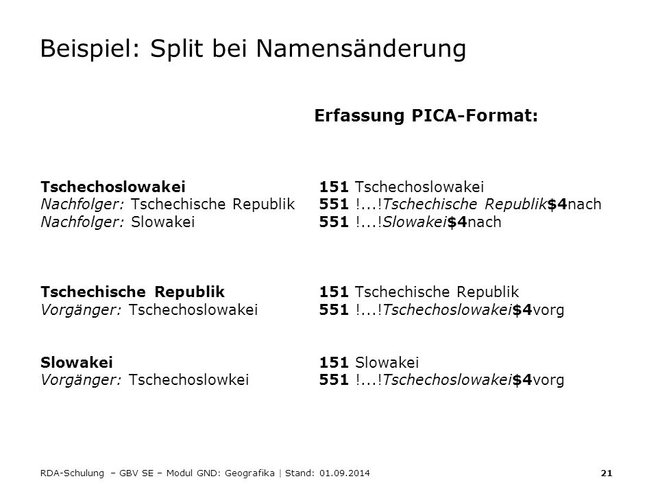 Beispiel: Split bei Namensänderung