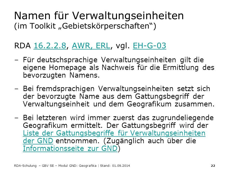 """Namen für Verwaltungseinheiten (im Toolkit """"Gebietskörperschaften )"""