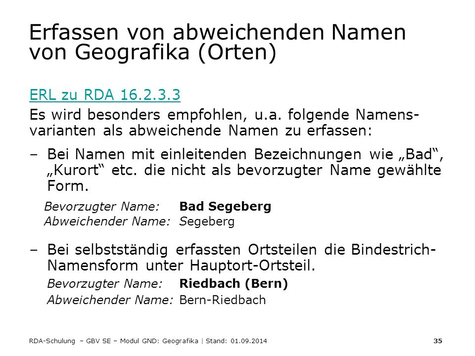 Erfassen von abweichenden Namen von Geografika (Orten)