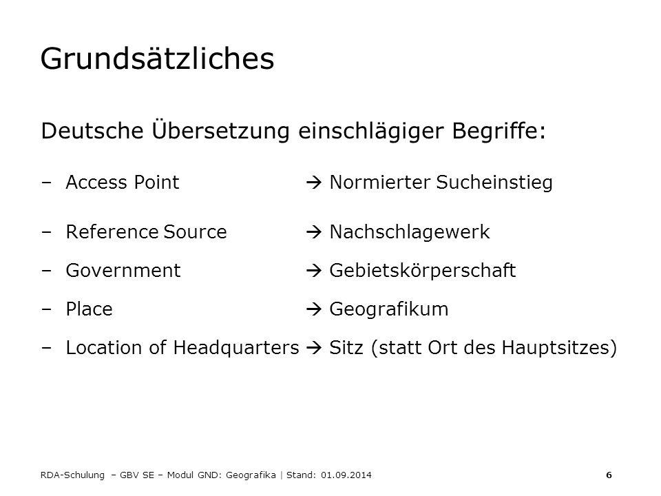 Grundsätzliches Deutsche Übersetzung einschlägiger Begriffe: