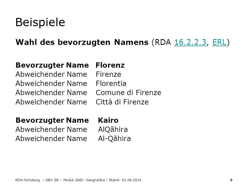 Beispiele Wahl des bevorzugten Namens (RDA 16.2.2.3, ERL)