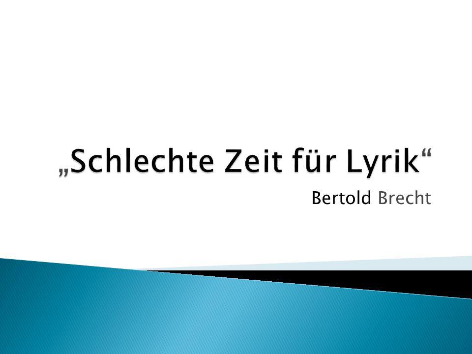 """""""Schlechte Zeit für Lyrik"""