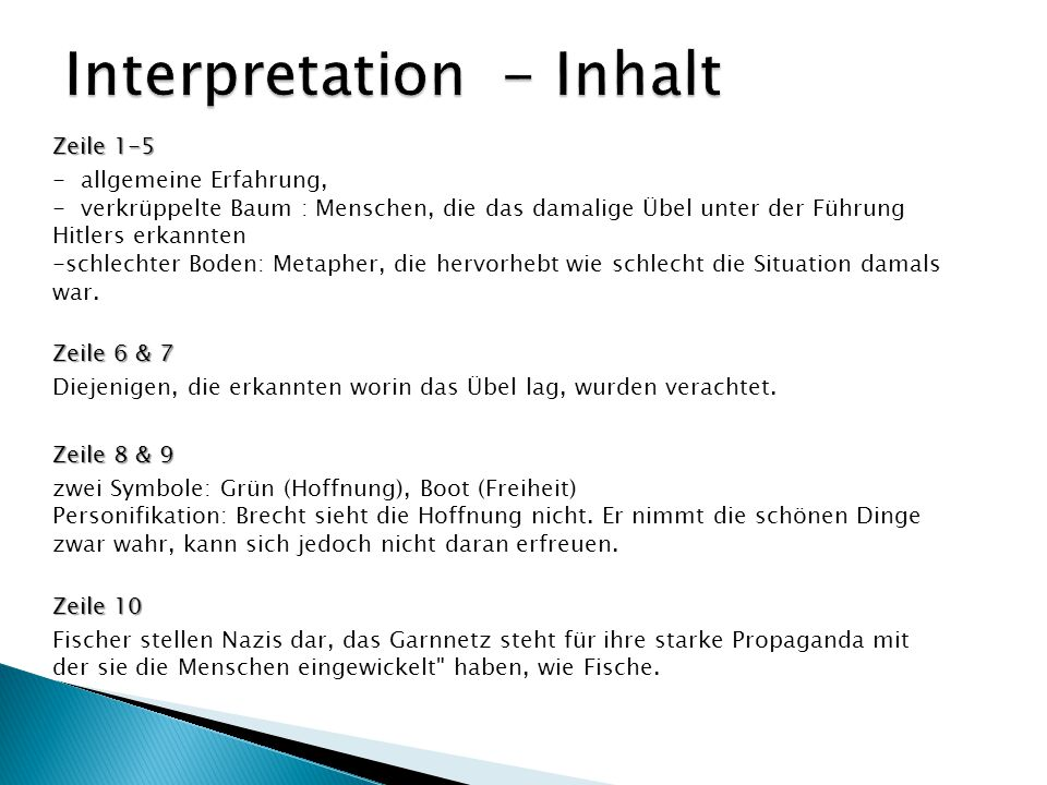 Interpretation - Inhalt