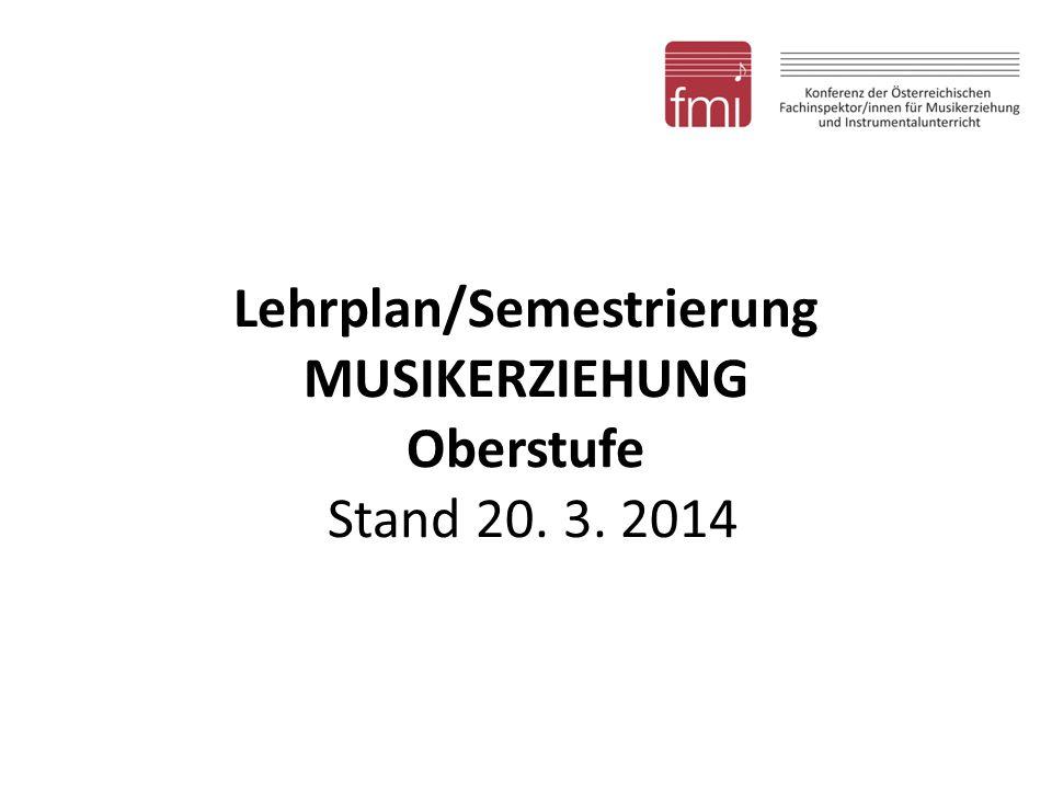 Lehrplan/Semestrierung MUSIKERZIEHUNG Oberstufe Stand 20. 3. 2014