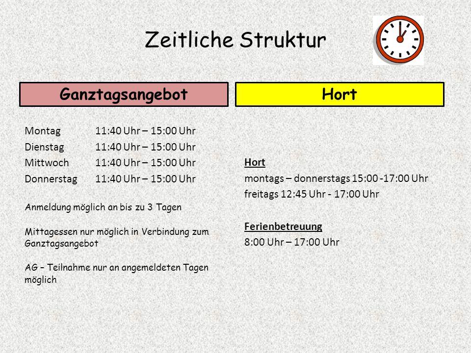 Zeitliche Struktur Ganztagsangebot Hort Montag 11:40 Uhr – 15:00 Uhr