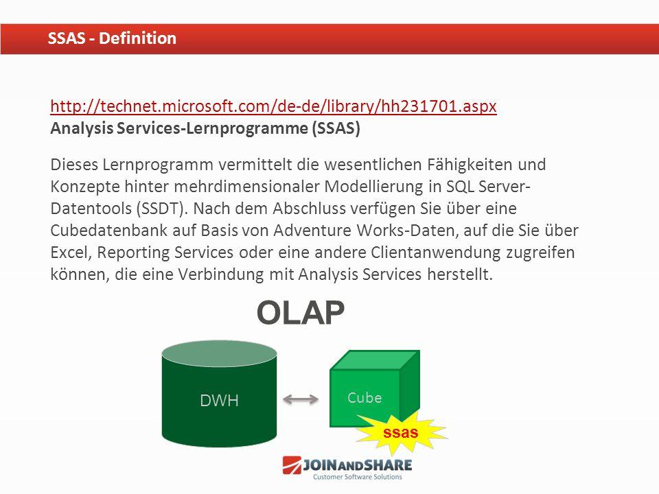 SSAS - Definition http://technet.microsoft.com/de-de/library/hh231701.aspx Analysis Services-Lernprogramme (SSAS)