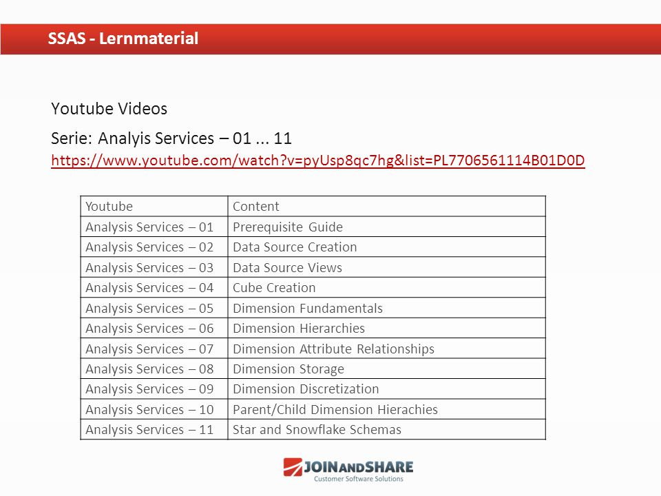 SSAS - Lernmaterial Youtube Videos