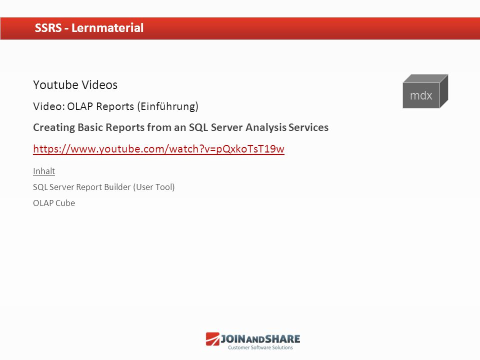 SSRS - Lernmaterial Youtube Videos mdx