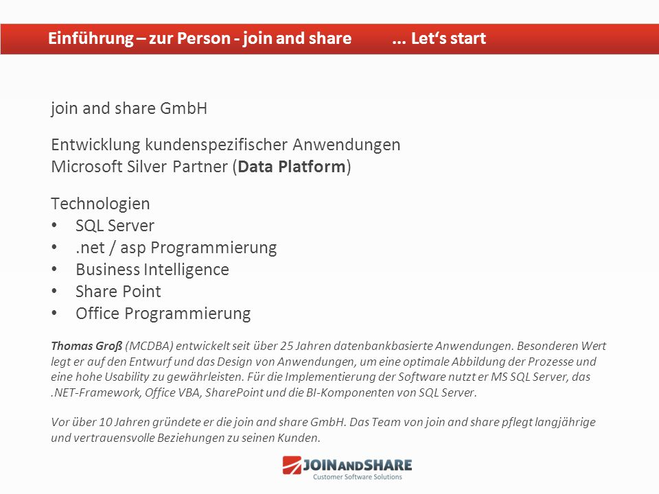 Einführung – zur Person - join and share ... Let's start