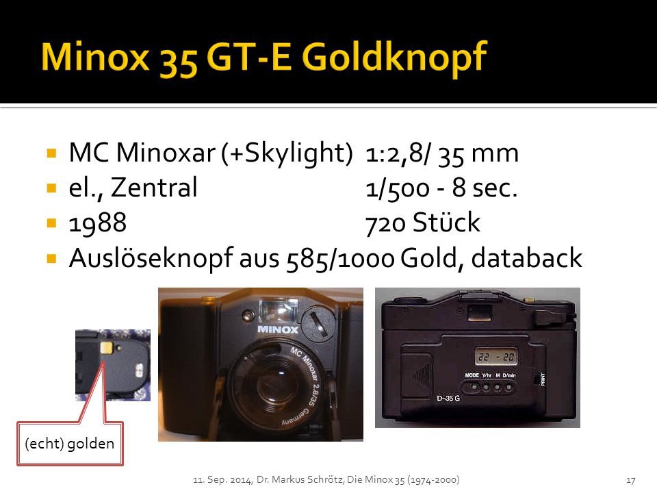 Minox 35 GT-E Goldknopf MC Minoxar (+Skylight) 1:2,8/ 35 mm