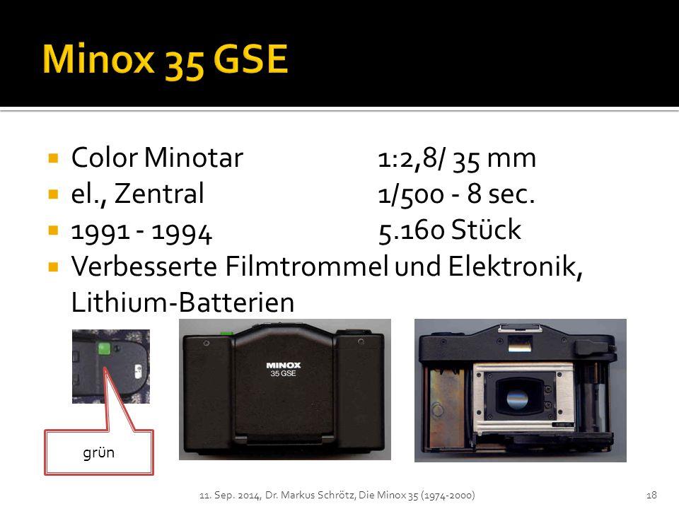 Minox 35 GSE Color Minotar 1:2,8/ 35 mm el., Zentral 1/500 - 8 sec.