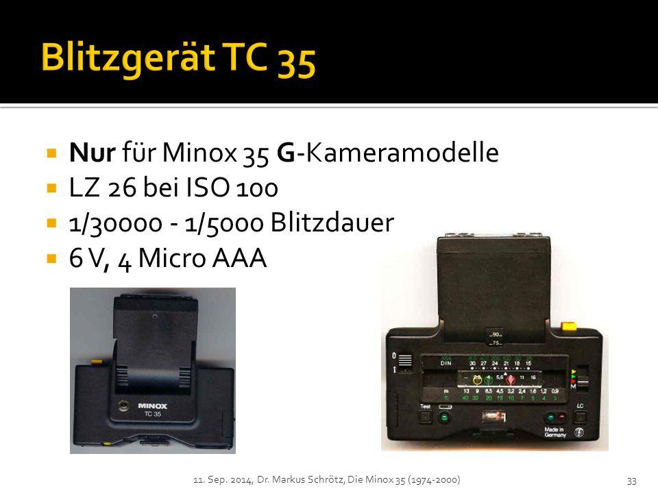 Blitzgerät TC 35 Nur für Minox 35 G-Kameramodelle LZ 26 bei ISO 100
