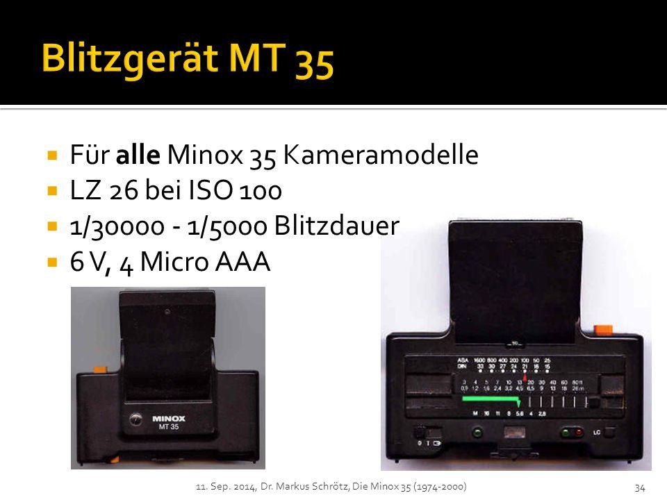 Blitzgerät MT 35 Für alle Minox 35 Kameramodelle LZ 26 bei ISO 100
