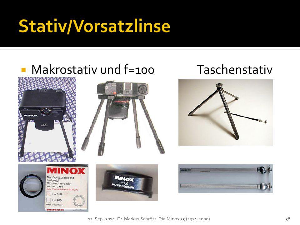 Stativ/Vorsatzlinse Makrostativ und f=100 Taschenstativ