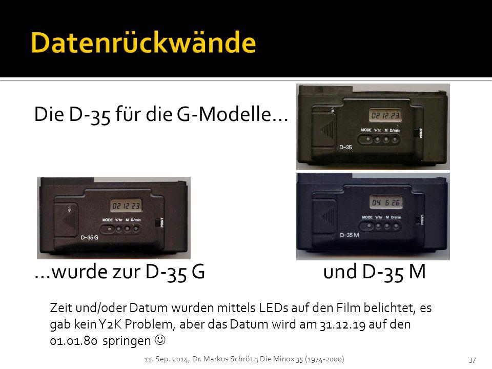 Datenrückwände Die D-35 für die G-Modelle…