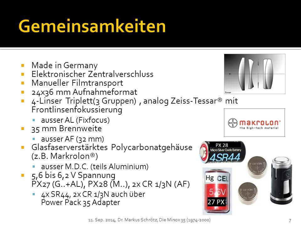 Gemeinsamkeiten Made in Germany Elektronischer Zentralverschluss