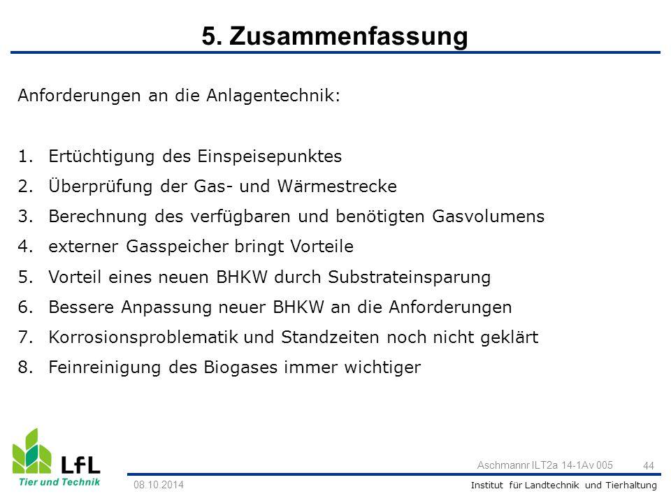5. Zusammenfassung Anforderungen an die Anlagentechnik: