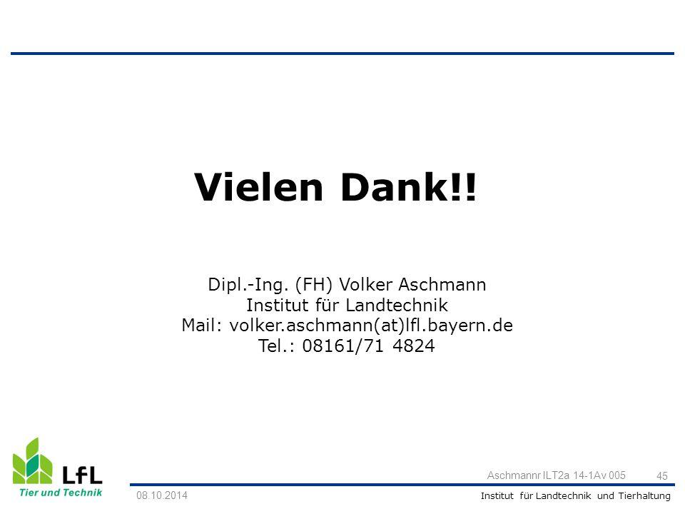 Vielen Dank!! Dipl.-Ing. (FH) Volker Aschmann Institut für Landtechnik
