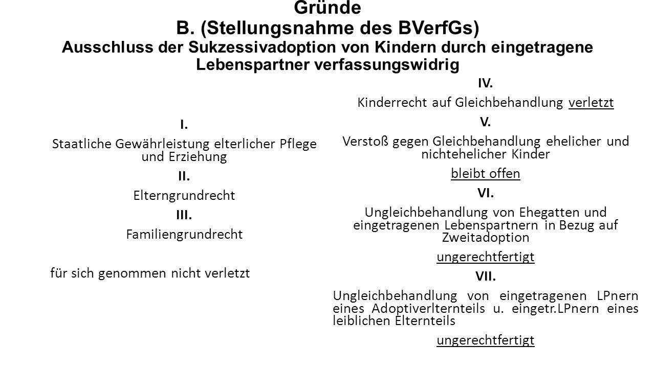 Gründe B. (Stellungsnahme des BVerfGs) Ausschluss der Sukzessivadoption von Kindern durch eingetragene Lebenspartner verfassungswidrig