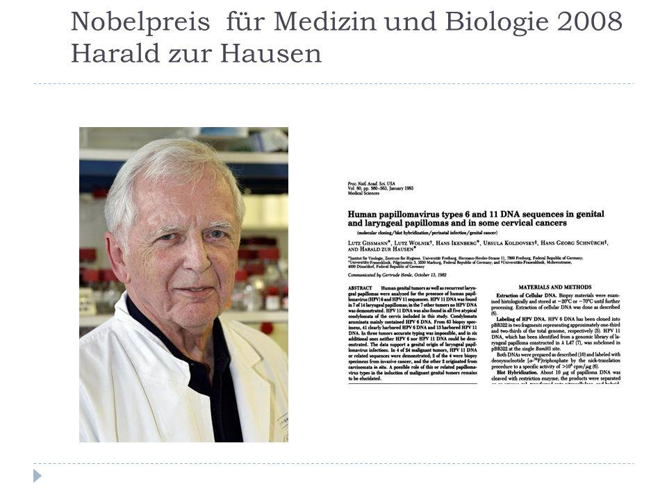 Nobelpreis für Medizin und Biologie 2008 Harald zur Hausen