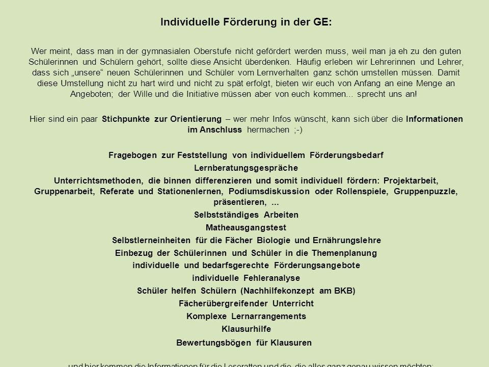 Individuelle Förderung in der GE: