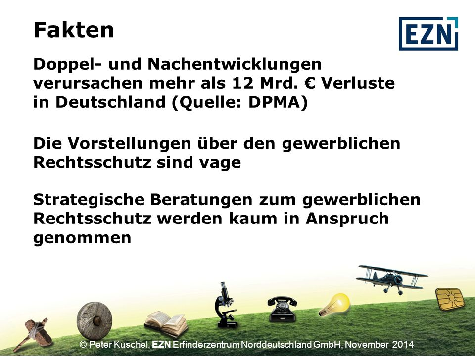 Fakten Doppel- und Nachentwicklungen verursachen mehr als 12 Mrd. € Verluste in Deutschland (Quelle: DPMA)