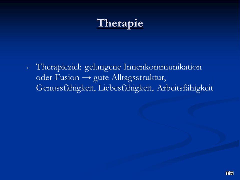 Therapie Therapieziel: gelungene Innenkommunikation oder Fusion → gute Alltagsstruktur, Genussfähigkeit, Liebesfähigkeit, Arbeitsfähigkeit.