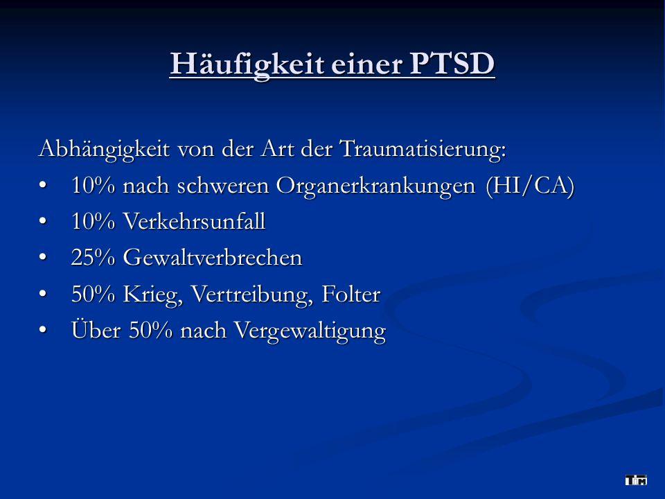 Häufigkeit einer PTSD Abhängigkeit von der Art der Traumatisierung:
